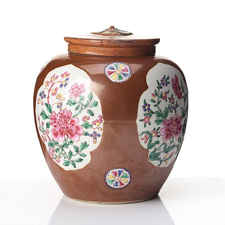 A famille rose and cappuciner brown jar, qingdynasty, qianlong (1736-95).