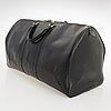 Louis vuitton, black epi leather keepall 55 bag.