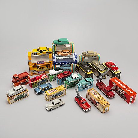 A set of 19 pcs toy cars from mÄrklin, moskvitch, politoys and norev, second half of the 20th century.
