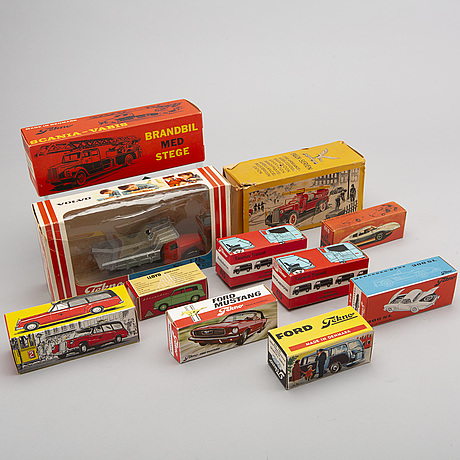 A set of eleven toy cars by tekno, denmark, 1950-1970's.