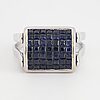 White gold, diamonds and sapphire ring.