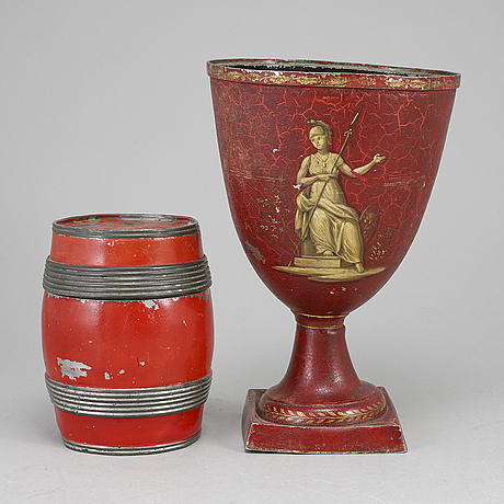 A biedermeier tobacco jar, and vase, probably germany, first half of the 19th century.
