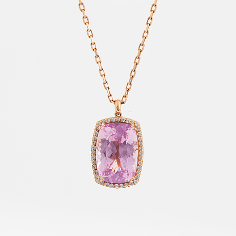 Kunzite and diamond necklace.