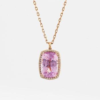 Hängsmycke, med stor fasettslipad kunzit och briljantslipade diamanter, med kedja.