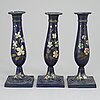 A set of three biedermeier candlesticks, probably germany, first half of the 19th century.