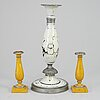 Three biedermeier candlesticks, probably germany, first half of the 19th century.