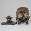 A biedermeier pewter urn with cover, probably germany, first half of the 19th century.