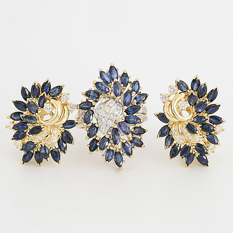Navette sapphire and brilliant-cut diamond earrings and ring.