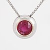 Round faceted ruby necklace.