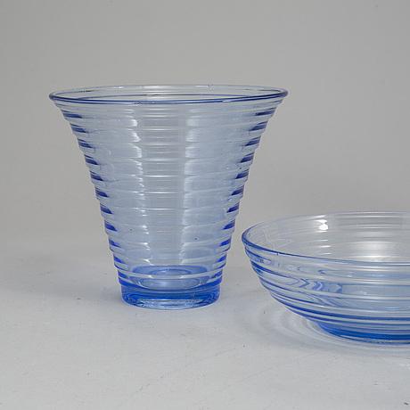 Aino aalto, a 10-piece part 'bölgeblick' glass service, karhula, finland, 1930's.