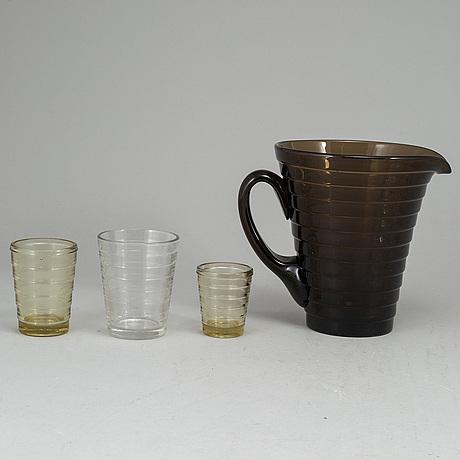 Aino aalto, a 19-piece part 'bölgeblick' glass service, karhula, finland, 1930's.