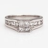 A 14k white gold ring with princess and brilliant cut diamonds ca. 1.20 ct in total.