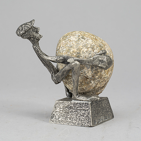 Henry gustafsson, stone and pewter sculpture, signed.