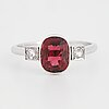 Red tourmaline and rose-cut diamond ring.