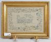 Sidenbroderi i lampett, senempire, sign c. s. hultman, dat 8 nov 1842.