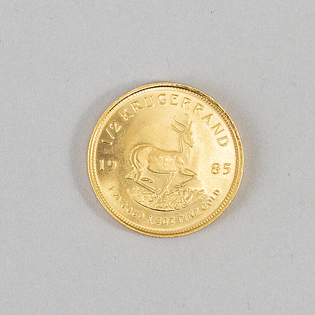 1/2 ounce south african krugerrand, gold coin.