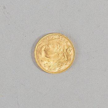 MYNT, 20 francs guld, Helvetia, 1947.