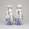 A pair of samson vases with cover, france, circa 1900.