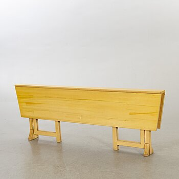 """A pine wood gated leg table, design by Olof Pira """"Sold Form""""."""