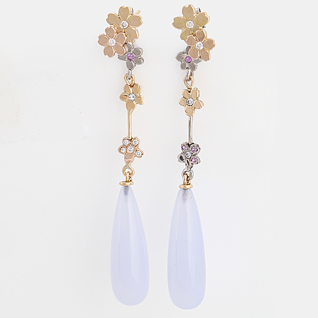 Blue chalcedony drop, pink sapphire and brilliant-cut diamond earrings.