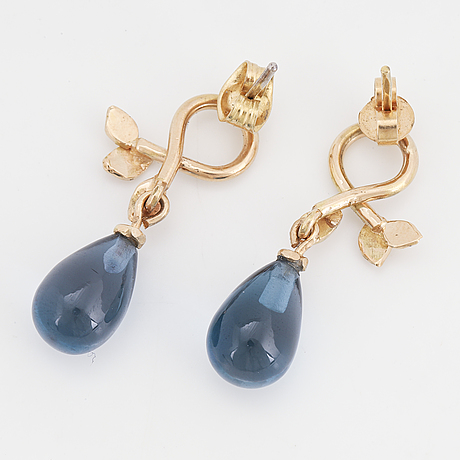 Drop blue topaz and brilliant-cut diamond earrings.