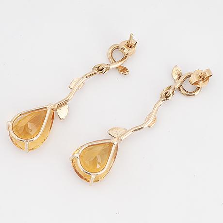 Citrine and brilliant-cut diamond earrings.