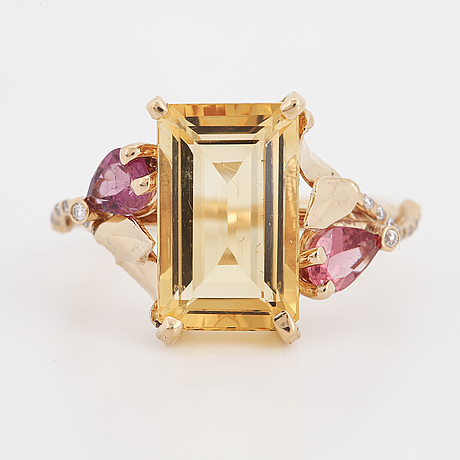 Citrine, pink tourmaline and diamond ring.