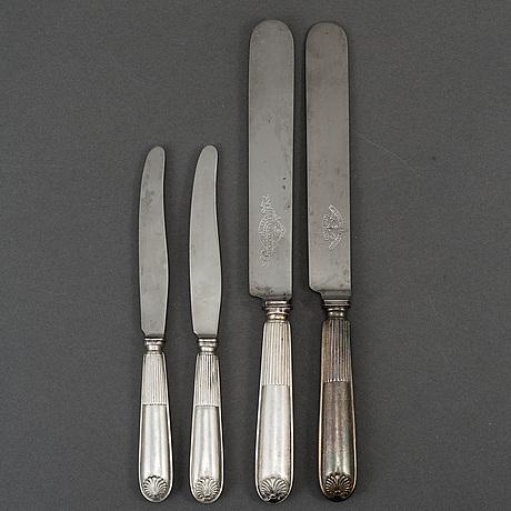 A set of thirty swedish 19th century silver knifes, mark of gustaf mollenborg, stockholm.