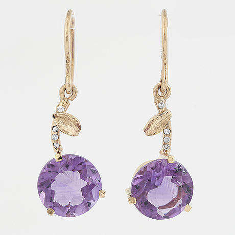 Round faceted amethyst and diamond earrings.