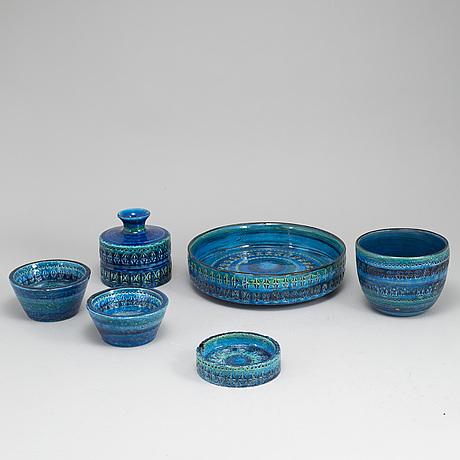 """Aldo londi, vas och skålar, fyra stycken, """"rimini blue"""", bitossi, 1900-talets andra hälft."""