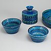 A group of five 'rimini blue' stoneware vase and bowls, for bitossi, second half of the 20th century.