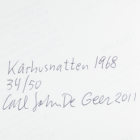 Carl johan de geer, photograph, signed carl johan de geer, dated 2011 and numbered 34/50 on verso.