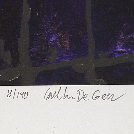 Carl johan de geer, lithograph in colours, signed carl johan de geer and numbered 8/190 in pencil.