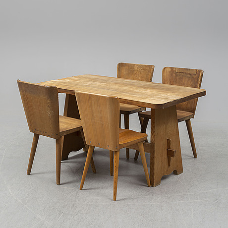 SportstugemÖbel, a pine dinner table and four chairs (3+1), one by göran malmvall, svensk fur, sweden mid 20th century.