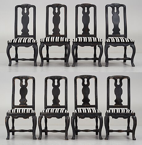 A matched set of eight swedish late baroque chairs.