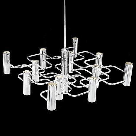 Gaetano sciolari, a 13-light chrome chandelier, probably boulanger sa.