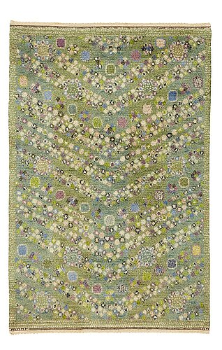 "Barbro nilsson, a carpet, ""violetta grön"", knotted pile, ca 200-201 x 129,5-131 cm, signed ab mmf bn."