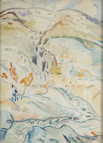 Leander engstrÖm, watercolour, certified by his son tord verso.