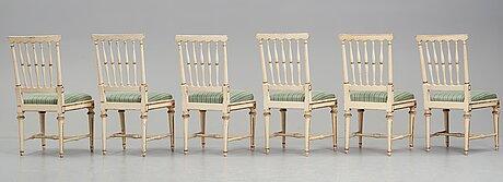 Six gustavian 18th century chairs by e Öhrmark.