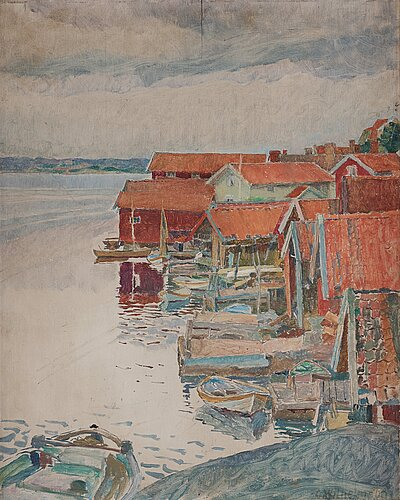 "Carl wilhelmson, ""septemberafton"" (september evening, scene from fiskebäckskil on the west coast of sweden)."