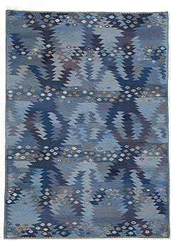 "220. Barbro Nilsson, A carpet, ""Tånga blå"", flat weave, ca 355 x 252-256 cm, signed AB MMF BN."