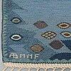"Barbro nilsson, a carpet, ""tånga blå"", flat weave, ca 355 x 252-256 cm, signed ab mmf bn."