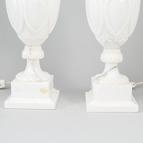 A pair of italian alabaster table lights, second half of the 20th century.