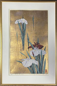 KAZUTOSHI SUGIURA (1938-), silkscreen on gold leaf, signed, numbered 32/70 and dated -87.