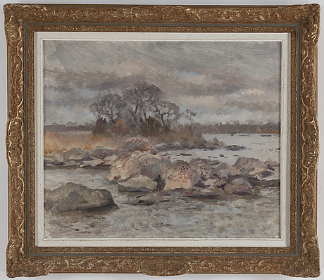 Lindorm liljefors, oil on panel, signed and dated -48.