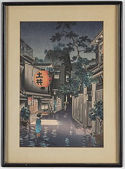 Tsuchiya KOITSU (1870-1949), after, a colour woodblock print, Japan, 'Kagurazaka', 20th century.