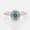 Brilliant-cut colour treated blue diamond ring.