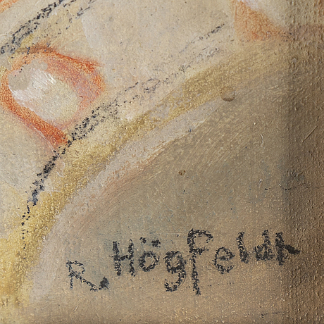 Robert hÖgfeldt, mixed media on panel, signed.