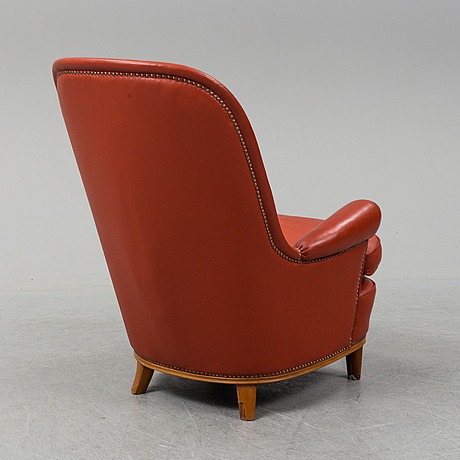 A 1930's leather upholstered 'paris' lounge chair by carl axel acking.