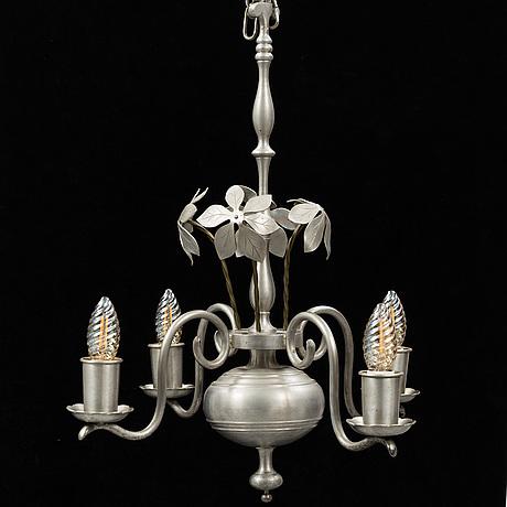 Estrid ericson, a model 104 pewter chandelier, svenskt tenn, 1920's.
